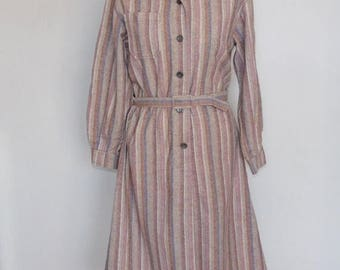 Clearance Sale 30% OFF Vintage Wool Shirt Dress by Emcar with Stripe Pattern, Belted Dress, Secretary Office, Casual, Size 14,