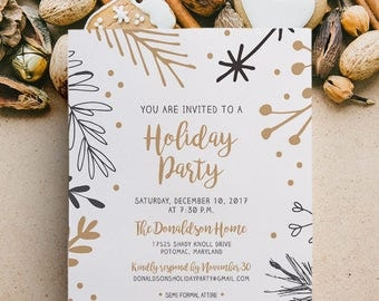 Christmas Party Invitation, Holiday Party, Company Party, Festive, Neutral, Printed, Printable, Invite, Flyer, Event, Cocktail Party