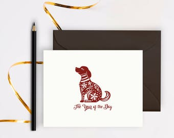 year of the dog 2018, cards, chinese new year, chinese zodiac, new years card, chinese new years 2018, greeting card, printable, folded card