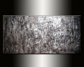 Texture Silver Metallic Abstract painting large Wall Art  On Canvas Ready To Hang By Henry Parsinia 80x36