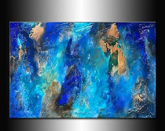 Texture Wall Art ,Original Modern canvas painting ,Blue Abstract Contemporary Painting 36x24
