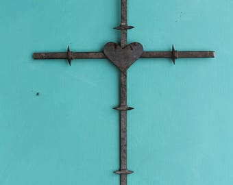 handmade barbed wire cross Christian wall decor