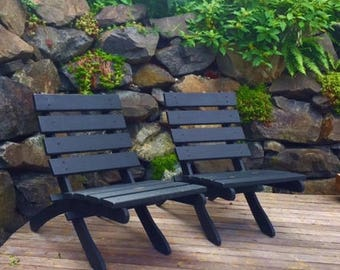 Cedar Patio Chair for Outdoor Comfort - Stained Slate Black - Storable - Deck Chair - Outdoor Furniture - Garden Furniture by Laughing Creek