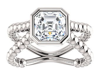 1.49 Carat 7MM Forever One Moissanite Antique Square Cut in 14kt White Gold Split Shank Unique Engagement Ring, Cocktail Ring