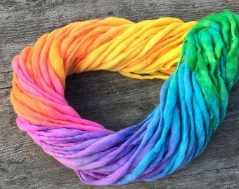 Handspun rainbow yarn, 50 yards and 3.5 ounces, 100 grams, spun super chunky, thick and thin in merino wool