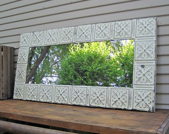 Tin ceiling Mirror, 2x4 Off White Bathroom Mirror, Architectural salvage, Old weathered paint, Rustic, Shabby, French country decor