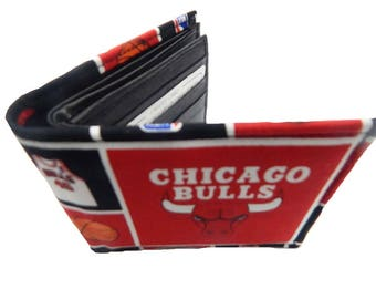 "Bi-Fold Men Wallet ""Chicago Bulls"" NBA Sport basketball  Pattern, Cotton Fabric, New , Rare"
