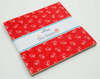 """Bee Basics by Lori Holt Bee in my Bonnet Charm Pack 5"""" - Riley Blake Designs In Stock!"""