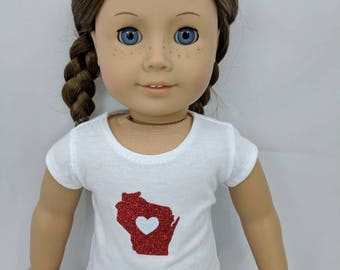 Red and White Wisconsin team pride t-shirt for 18 inch dolls such as American Girl