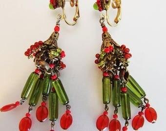 ON SALE Gorgeous Vintage Art Deco Glass Bead Chandelier Earrings