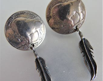 Vintage Sterling Buffalo Nickle Feather Earrings