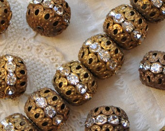 Large 15 X 13 mm Rhinestone Rondelle Filigree Beads Vintage Style Antique Gold Tone 48É