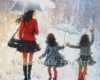 Mother Twin Daughters Art Print, twin sisters, twin girls, mothers day gift, rain girls, wall art, umbrellas, red, mom, Vickie Wade art
