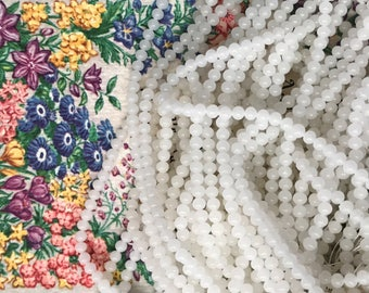130+ Vintage Torii Brand 3mm Semi Translucent White Glass Beads, Made in Japan B#182
