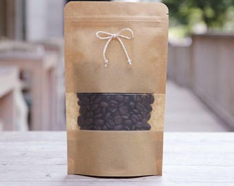 10 kraft paper zipper bag with window (about coffee bean 130 g)  medium size