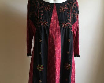 vintage.  Indian Red Color Blocked Embroidered Tunic / Free Size