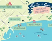 Custom Wedding Invitation Map -- Santa Barbara, California - Listing for Christine