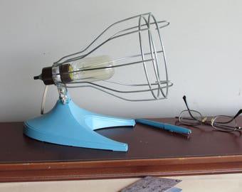 peacock blue - vintage cage lamp - Lamp - retro