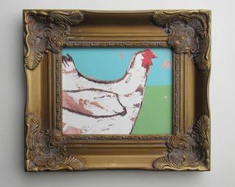 "chicken lover - framed print - quirky animal art  - ""Esther "" - free range chicken -wall art - decorative artwork"