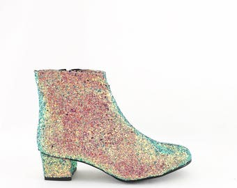 Iridescent Glitter Heeled Ankle Boots (Handmade to Order)