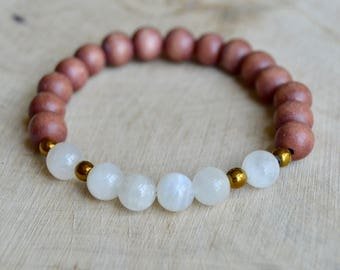 Moonstone and Wood Bracelet.