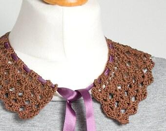 RETRO COLLAR Crochet collar, peter pan collar,brown collar necklace, retro style, crochet jewelry, crochet necklace, dettachable collar