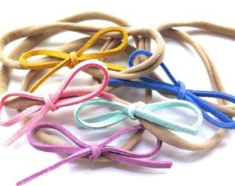 Small Faux Leather Bow Headband - Choose From 37 Colors - Baby Mini Bow Nylon Headband - Boho Chic - Tribal Style - Baby Girl Gift