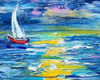 Sailing Last Light painting original oil 6x6 palette knife impressionism on canvas fine art by Karen Tarlton