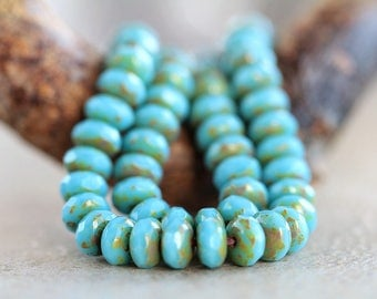 5x7mm Blue & Classic Picasso Faceted Rondelle Beads, Czech Glass Beads, Fire Polished beads, Glass Gemstone Cut Donuts (30pcs) NEW