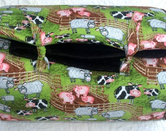 Funny Farm in Black Janiebee Quilted Nap Mat, safe THICK adorable made in USA toddler nap mats