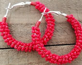 Red Hoop Earrings - Beaded Hoop Earrings - Boho Hoop Earrings - Valentines Day Hoops - Gift for Girlfriend - Teenage Girl Gift - 20 Gift