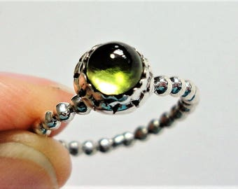Green Peridot Ring Green Peridot Round Cabocon Engagement Ring Peridot Solitaire Ring in Solid Sterling Silver Beaded Band Size 5.5