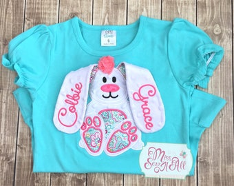 Girls Aqua 3D Floppy Ear Bunny Shirt, Custom Girls Easter Bunny Shirt, Girls Easter Top, Girls Bunny Shirt, Girls Floral Bunny Shirt, Easter