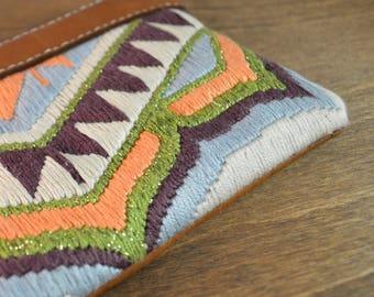 Clutch Purse - Silk & Leather Evening Bag, Embroidered Purse