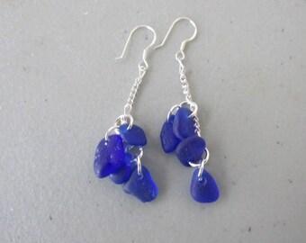 Blue Sea Glass Earrings, Jewelry BLUE Sea Glass, Drop Seaglass Earrings, Beach Glass Dangle Earrings, Sea Glass Jewelry