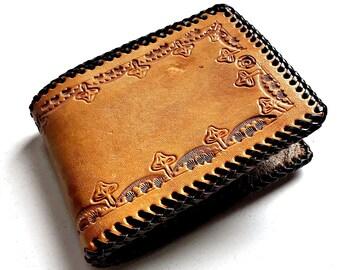 Vintage Leather Wallet, Mushroom Wallet, Tooled Stamped Leather Wallet, Handmade Leather Wallet, Handcrafted Leather Mushroom Wallet