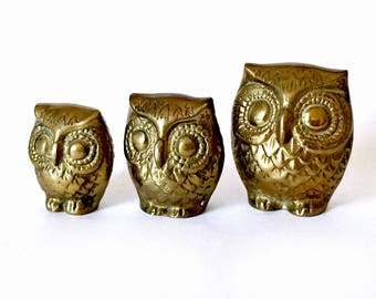 Three Brass Owls, Vintage Brass Owl Set, Trio of Owls, Solid Brass Owls, Brass Owl Family, Brass Owl Figurines, Owl Collectibles, 3 Owls