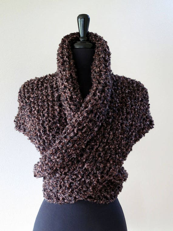 Outlander Inspired Dark Brown Color Knitted Chunky Boucle Yarn