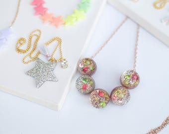 Beaded crystal glitter neckace. Girls chunky bubblegum sparkle necklace.