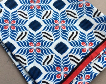 Cotton fabric by the yard, block print style, floral geometric ethnic pattern, for sewing quilting patchwork or projects