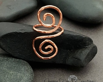 Natural Copper | Spiral Wire Ring | Custom Made to Order | 14g Copper Wire | Artisan Jewelry | Adjustable Jewelry |  Bare or Antiqued | Love