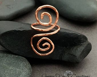 Adjustable Copper Wire Spiral Ring  Custom Made to Order using 14g Copper Wire Choice of Bare or Antiqued