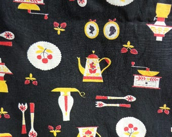 Vintage Kitchen Patterned Fabric, Retro Kitchen Fabric, 3 yards x nearly 36 inches across