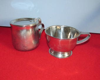 Vintage Mid Century Creamer and Cup / Bowl - Stainless Steel