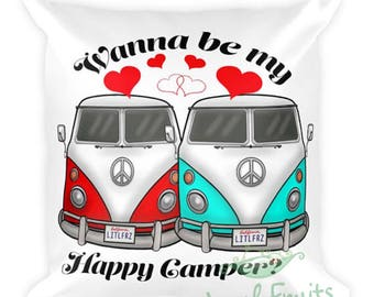 Two Cars Love Pillow - Engagement Pillow - VW Bus Camper Van Fiancé Proposal Gift - Future Mr, Mrs Pillow - Volkswagen Bus Bride, Groom Gift