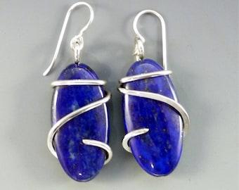 Lapis Lazuli Earrings, lapis earrings, stone earrings,  blue stone earrings, wire wrap earrings, gemstone earrings, wrapped stone