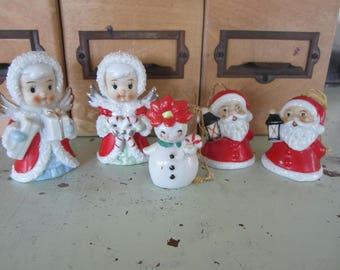 Vintage Christmas Kitsch Decor & Ornaments Lot of 5 Angels Santa Claus Snowman Lot of 5 Made in Japan