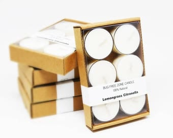 5 Packs of 6 Lemongrass Citronella Candle Natural Bugs Mosquitoes Repellent Soy Tealights Outdoor Candles Free Shipping Bulk Tealights
