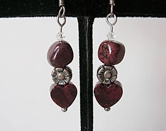 Poppy Jasper Gemstone Heart Earrings on Silver, Dark Red, Silver Flower, Short Earring