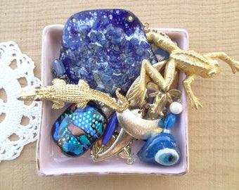 Vintage Jewelry Destash Blue Enamel, Blue Glass, Gold Frog, Gold Alligator, Evil Eye Vintage Jewelry Destash Blue Sail Boat Dancing  D178
